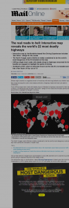 The real roads to hell  Interactive map reveals the world s 22 most deadly highways   Mail Online